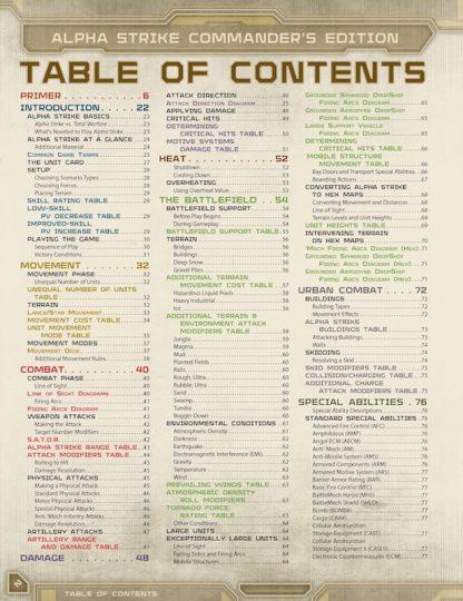 Battletech Alpha Strike: Commander's Edition contents page