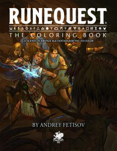 RuneQuest The Colouring Book Cover | 24 scenes of bronze age fantasy for you to colour
